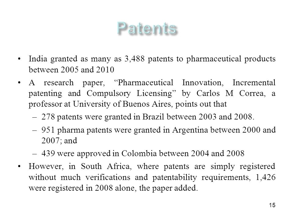 Patents India granted as many as 3,488 patents to pharmaceutical products between 2005 and 2010.