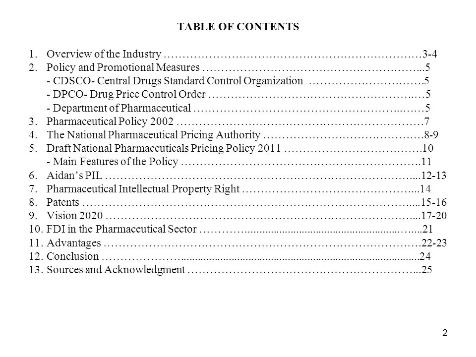 TABLE OF CONTENTS 1. Overview of the Industry ……………………………………………………………3-4. 2. Policy and Promotional Measures …………………………………………………...5.