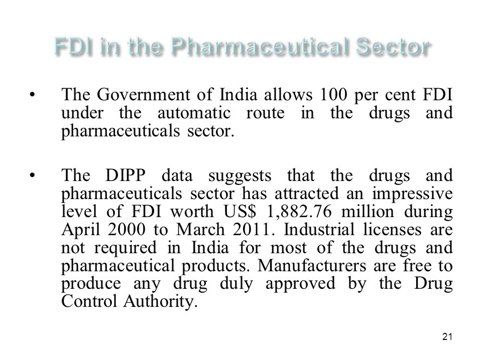 FDI in the Pharmaceutical Sector