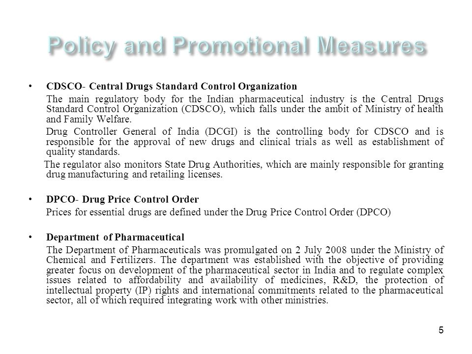 Policy and Promotional Measures