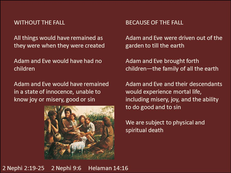 WITHOUT THE FALL All things would have remained as they were when they were created. Adam and Eve would have had no children.