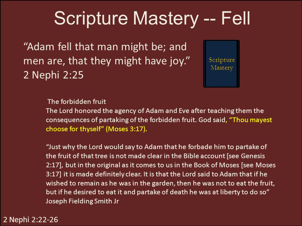 Scripture Mastery -- Fell