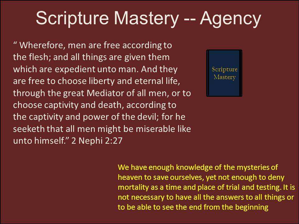 Scripture Mastery -- Agency
