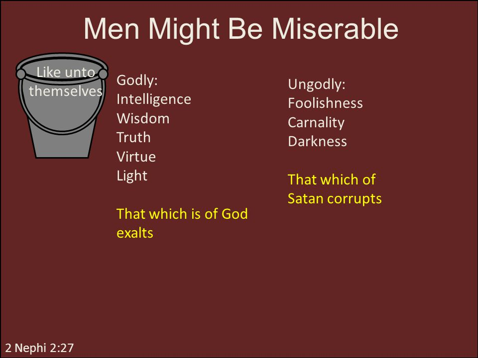 Men Might Be Miserable Like unto themselves Godly: Ungodly: