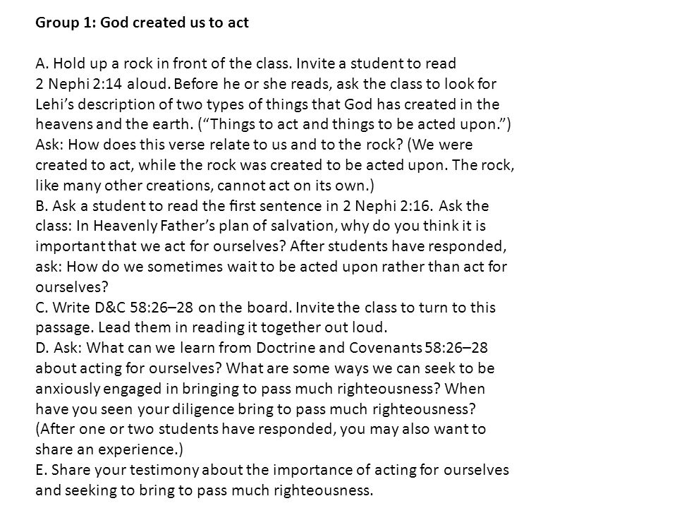 Group 1: God created us to act