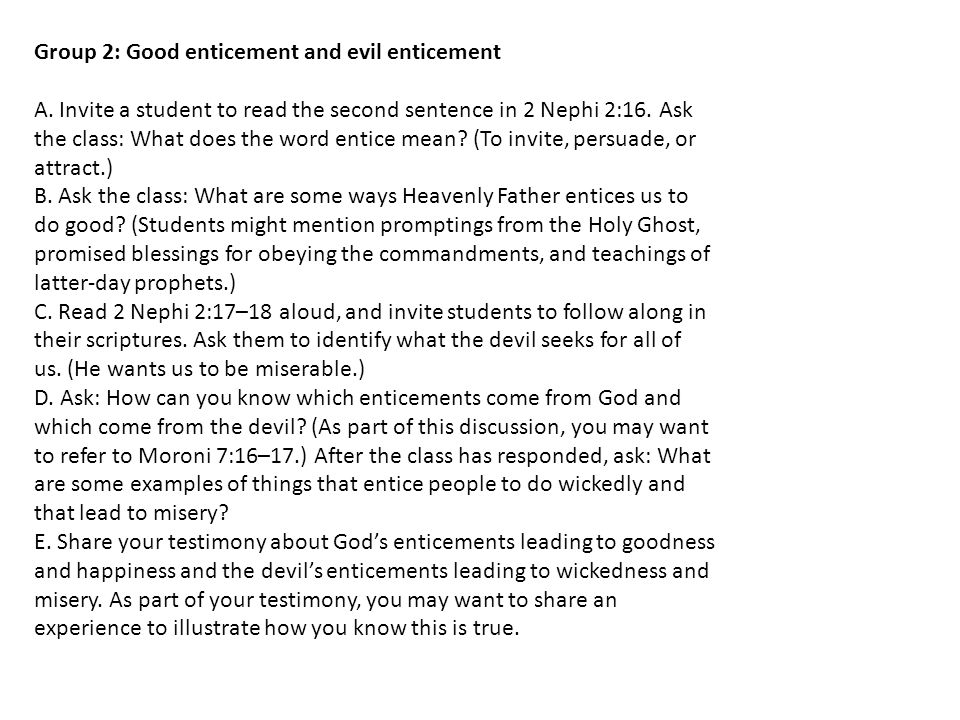 Group 2: Good enticement and evil enticement