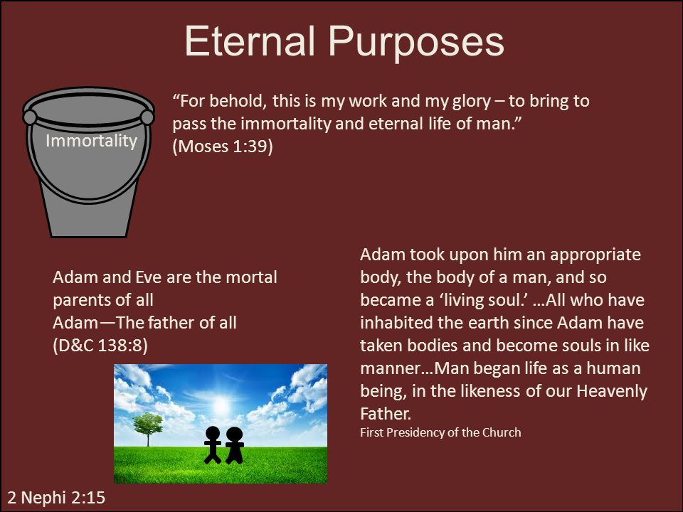 Eternal Purposes For behold, this is my work and my glory – to bring to pass the immortality and eternal life of man.