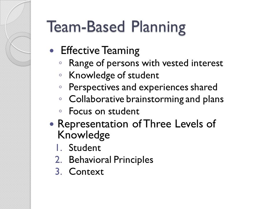 Team-Based Planning Effective Teaming