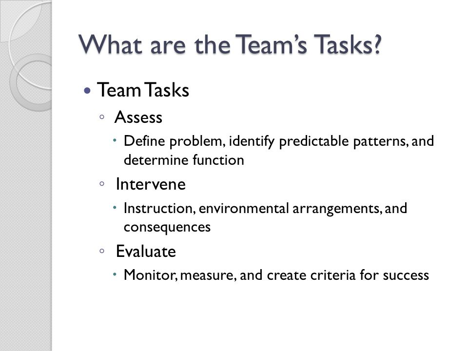 What are the Team's Tasks
