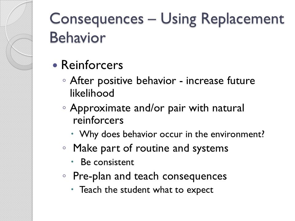 Consequences – Using Replacement Behavior