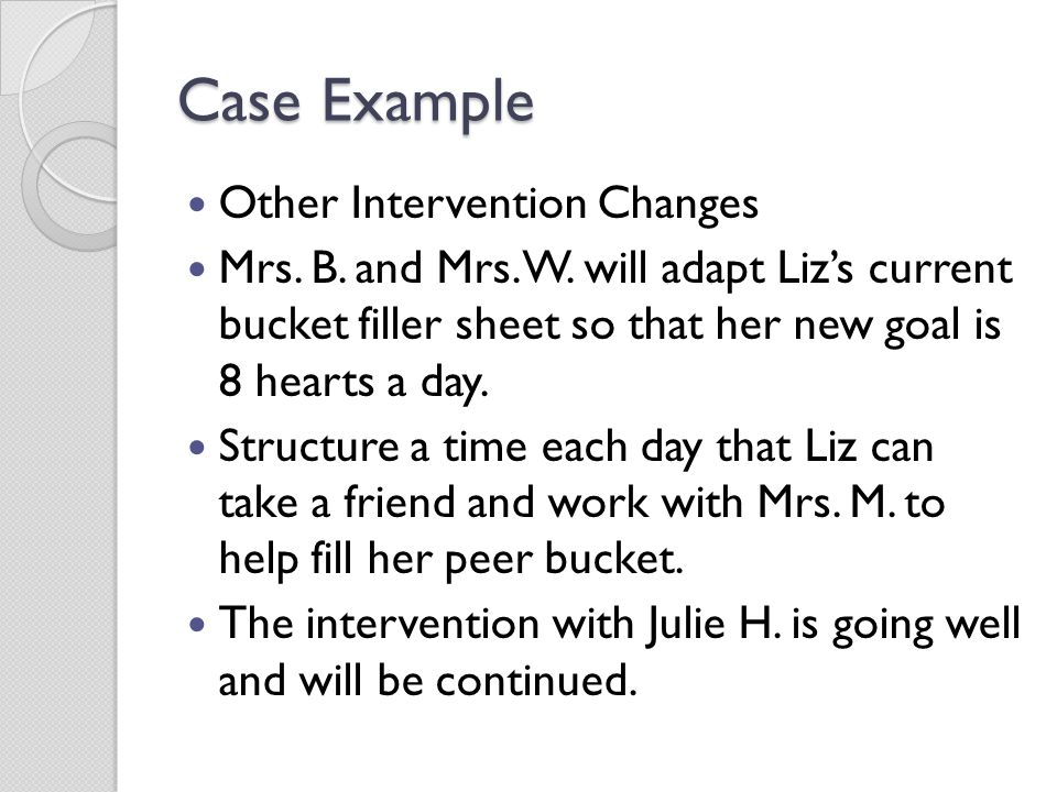 Case Example Other Intervention Changes