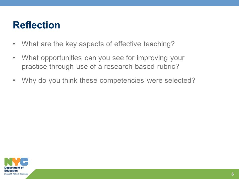 Reflection What are the key aspects of effective teaching