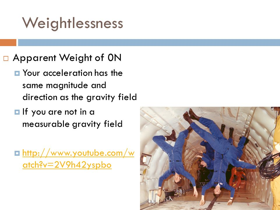 Weightlessness Apparent Weight of 0N