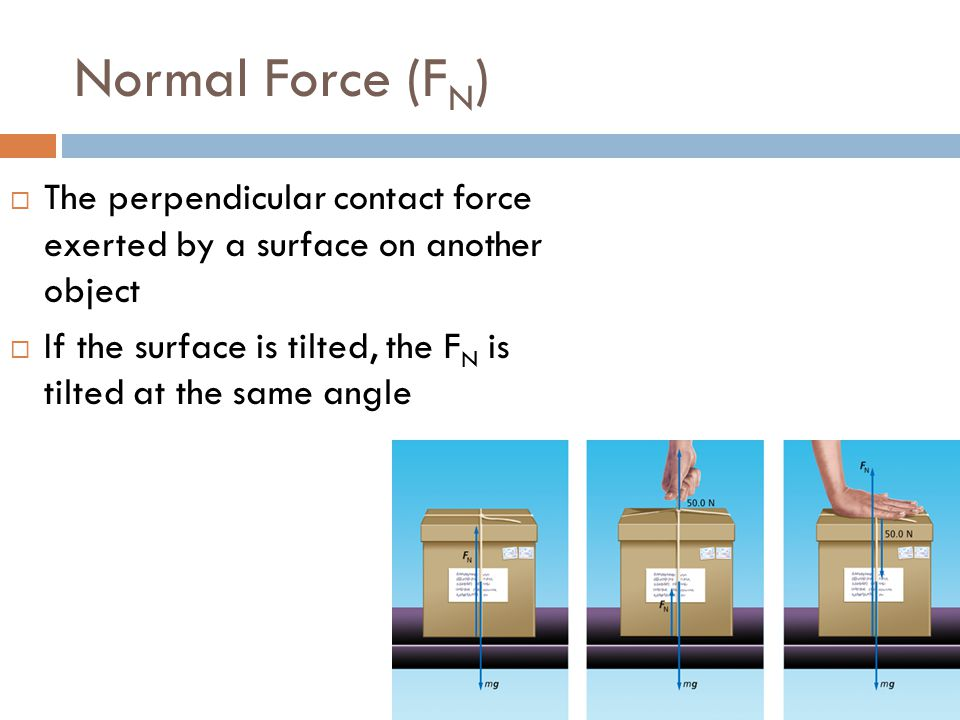 Normal Force (FN) The perpendicular contact force exerted by a surface on another object.