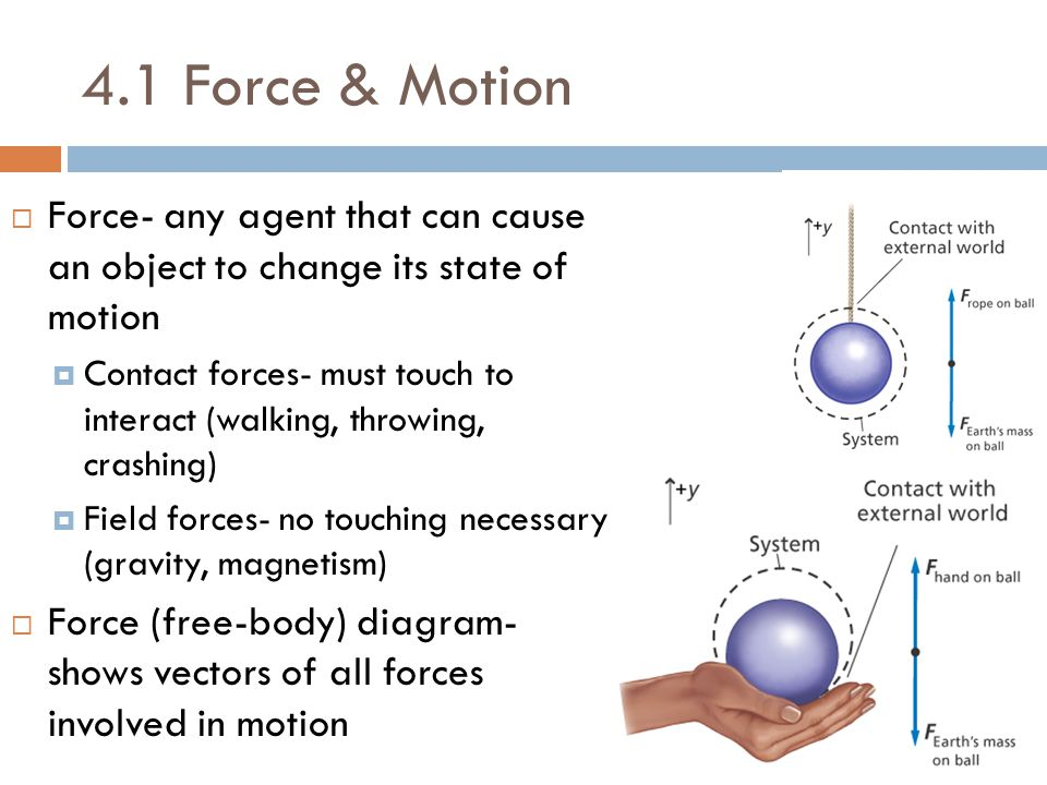 4.1 Force & Motion Force- any agent that can cause an object to change its state of motion.