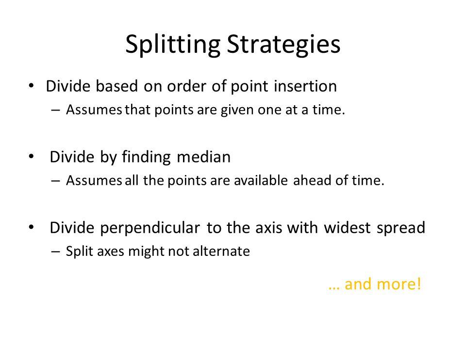 Splitting Strategies Divide based on order of point insertion