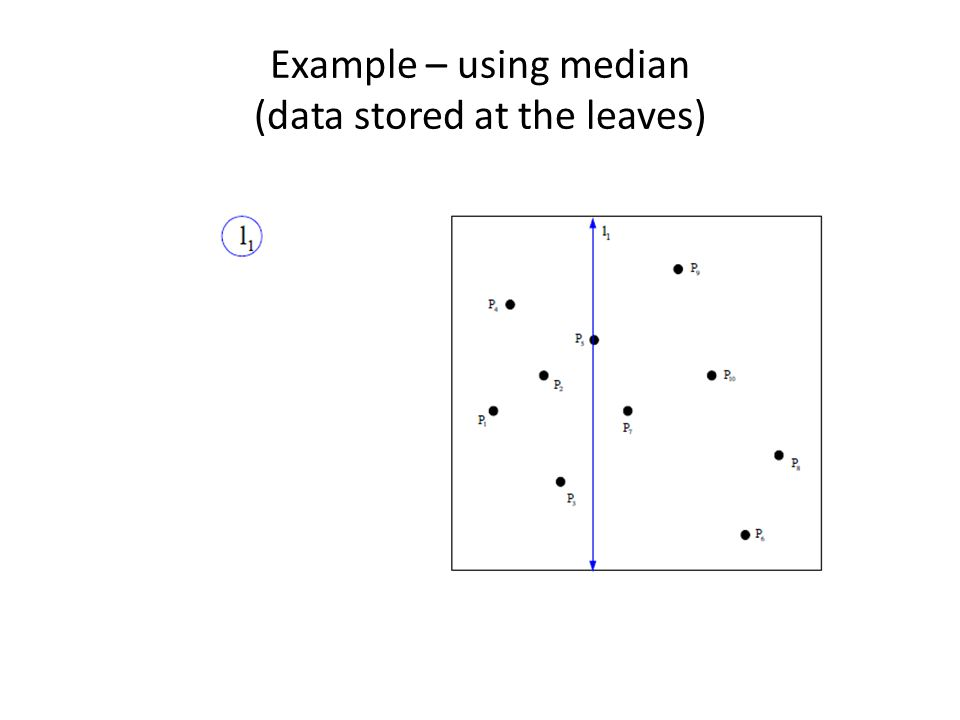 Example – using median (data stored at the leaves)