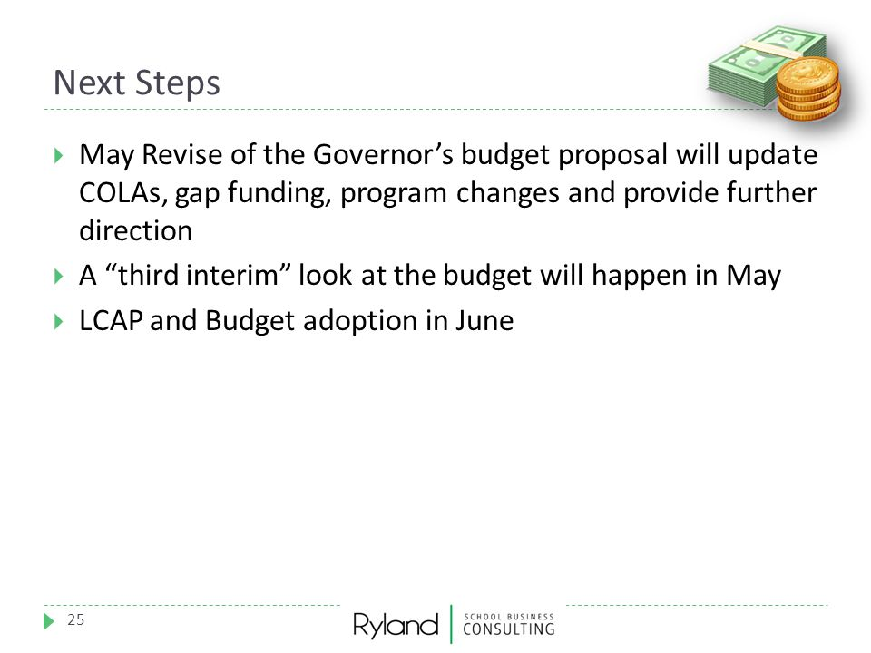 Next Steps May Revise of the Governor's budget proposal will update COLAs, gap funding, program changes and provide further direction.