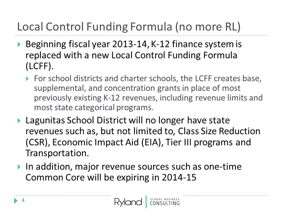 Local Control Funding Formula (no more RL)