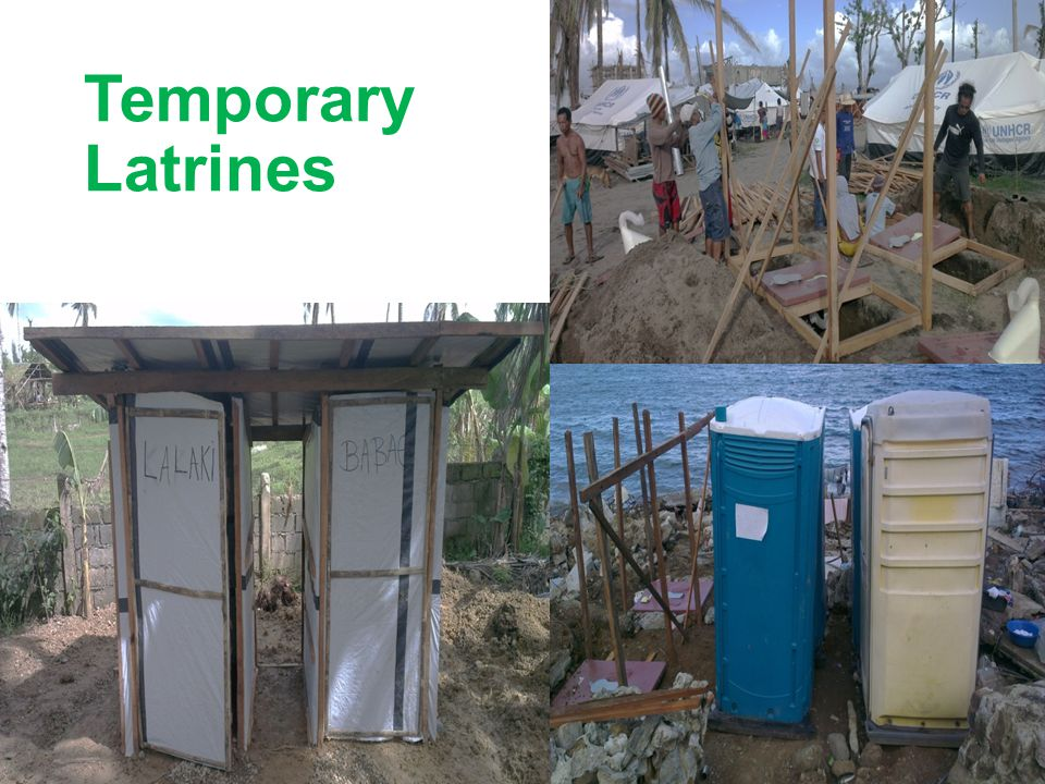 Temporary Latrines Temporary latrine are constructed in a number of ways. Here are 3 examples: