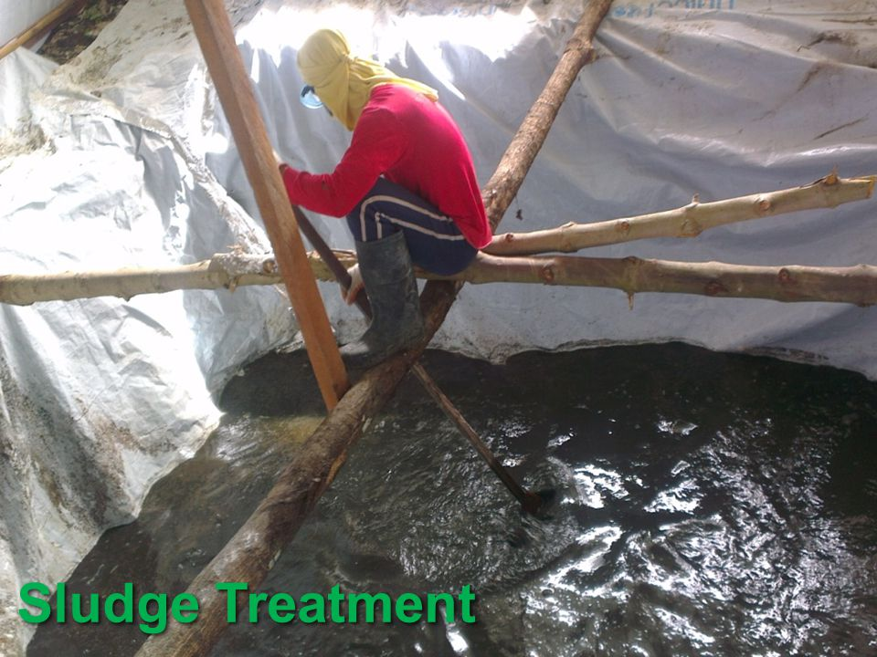 Sludge treatment is a very important issue and Oxfam has an innovative method for dealing with sludge. Sludge refers to the effluent from septic tank or toilets.