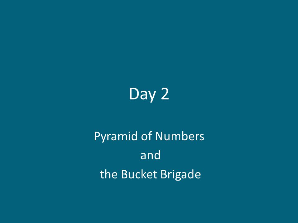 Pyramid of Numbers and the Bucket Brigade