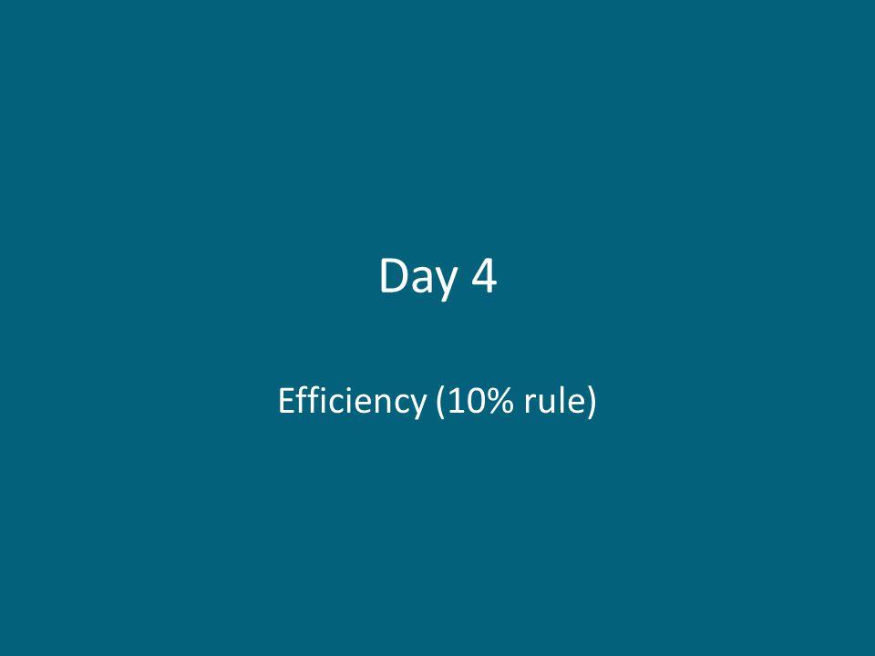 Day 4 Efficiency (10% rule)