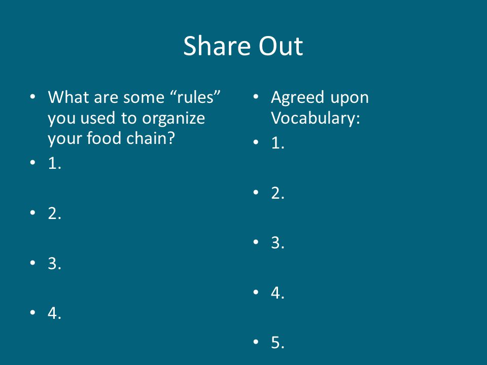 Share Out What are some rules you used to organize your food chain