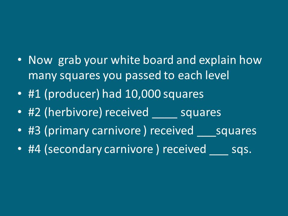Now grab your white board and explain how many squares you passed to each level