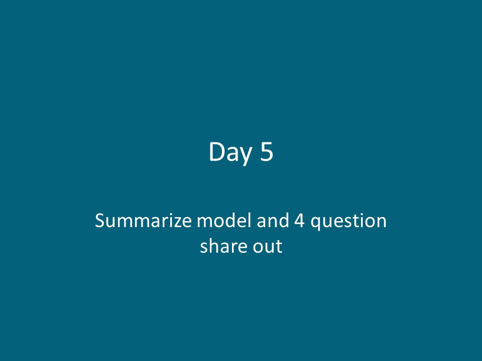 Summarize model and 4 question share out