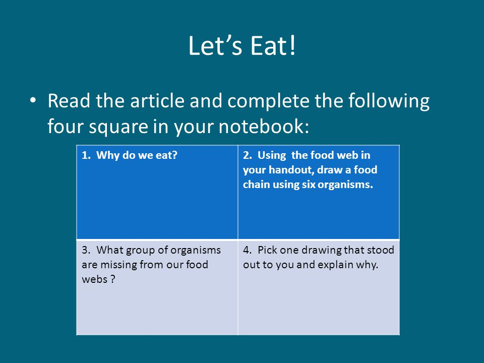Let's Eat! Read the article and complete the following four square in your notebook: 1. Why do we eat