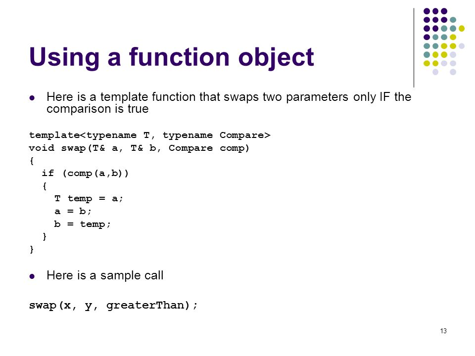 Using a function object