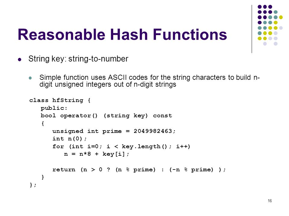 Reasonable Hash Functions