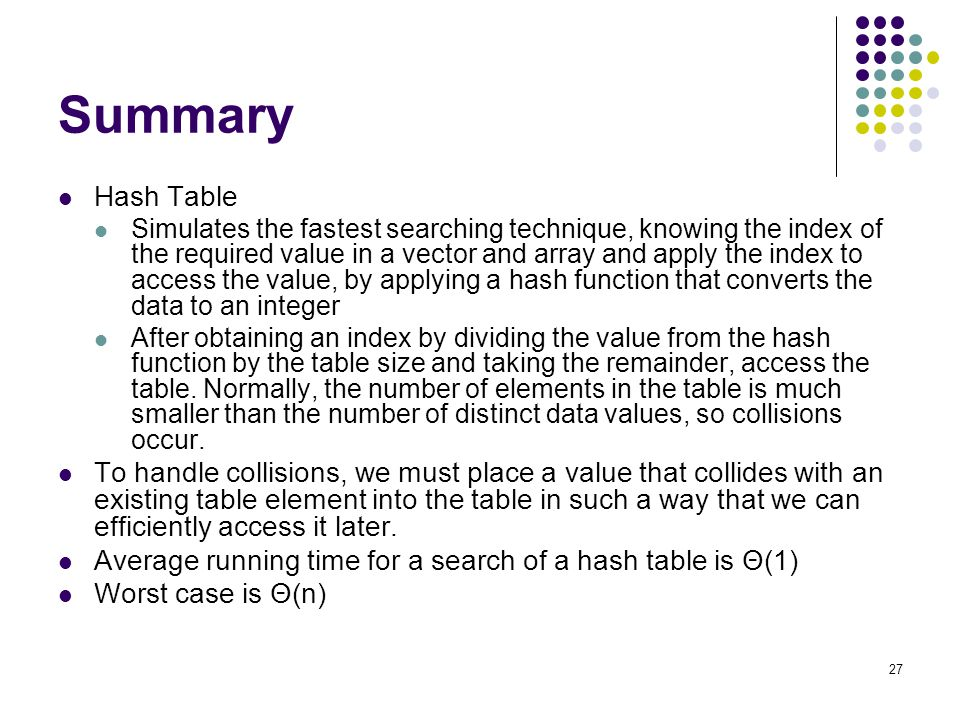 Summary Hash Table.