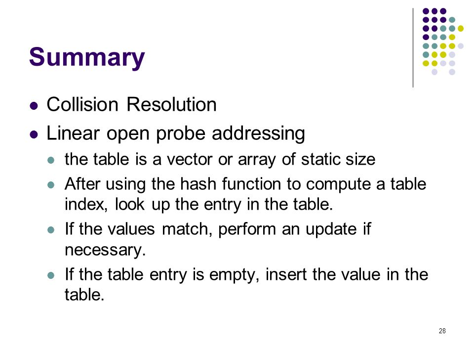 Summary Collision Resolution Linear open probe addressing