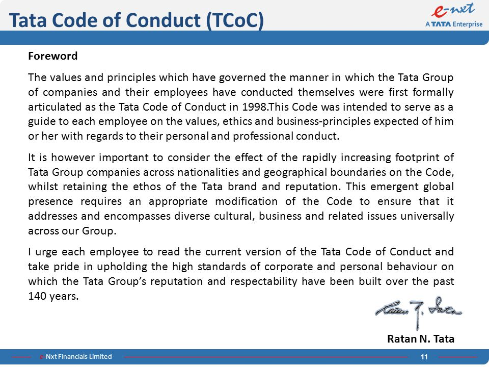 Tata Code of Conduct (TCoC)