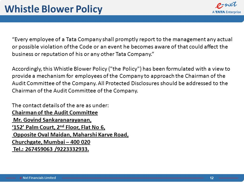 Whistle Blower Policy