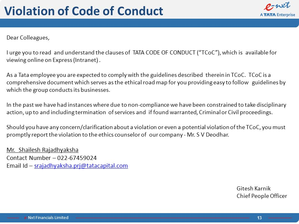 Violation of Code of Conduct