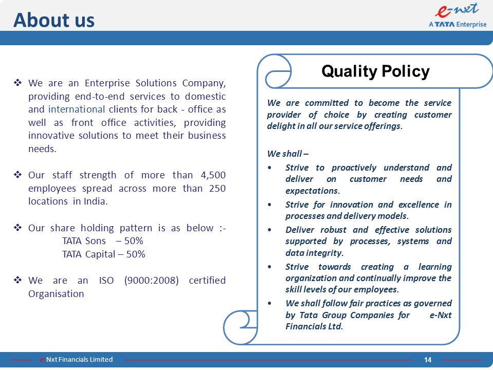 About us Quality Policy