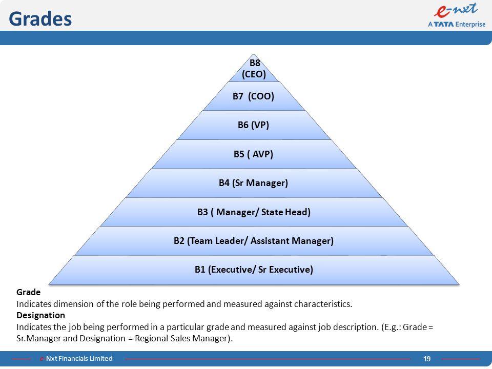 Grades B8 (CEO) B7 (COO) B6 (VP) B5 ( AVP) B4 (Sr Manager)