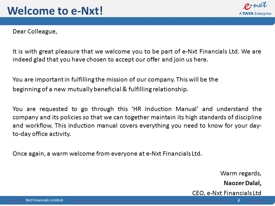 Welcome to e-Nxt! Dear Colleague,
