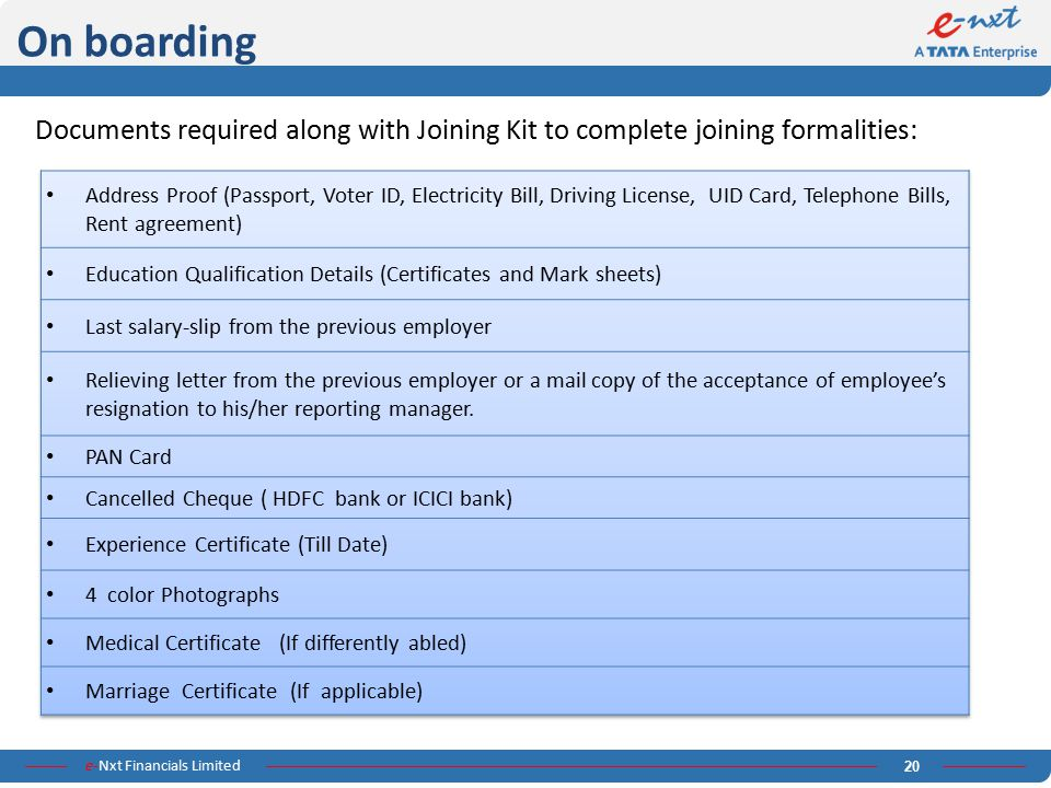 On boarding Documents required along with Joining Kit to complete joining formalities: