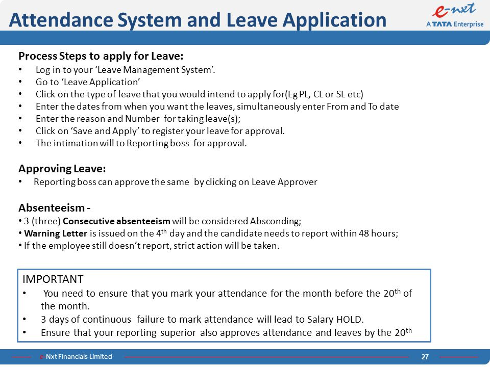 Attendance System and Leave Application