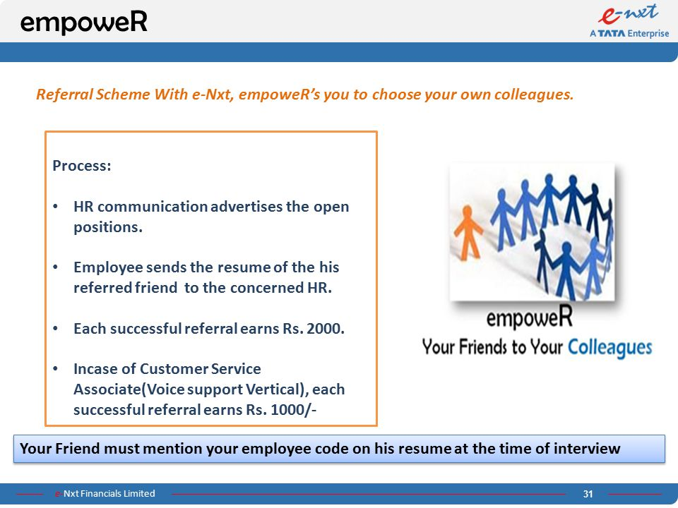 empoweR Referral Scheme With e-Nxt, empoweR's you to choose your own colleagues. Process: HR communication advertises the open positions.