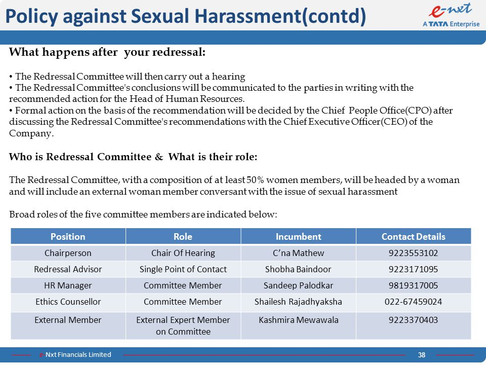 Policy against Sexual Harassment(contd)