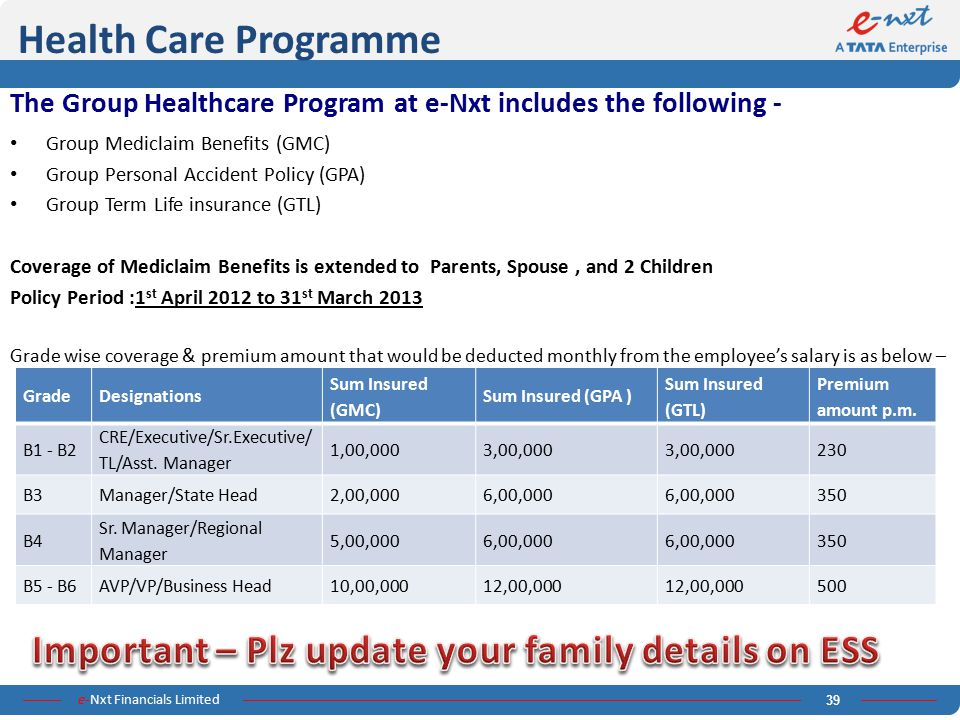 Health Care Programme The Group Healthcare Program at e-Nxt includes the following - Group Mediclaim Benefits (GMC)