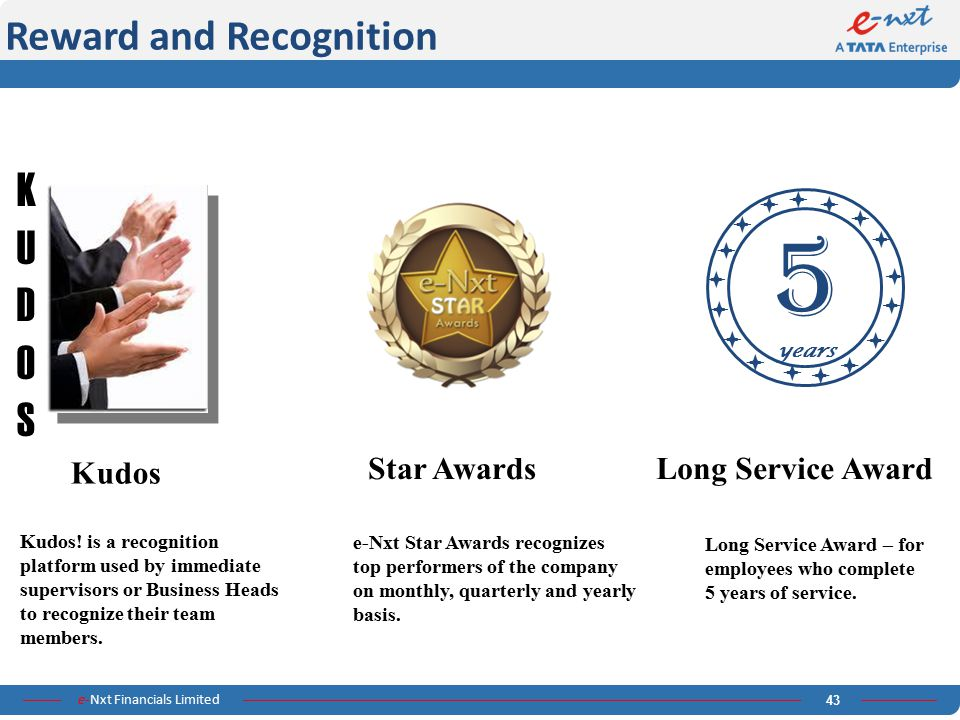 5 K U D O S Reward and Recognition Kudos Star Awards