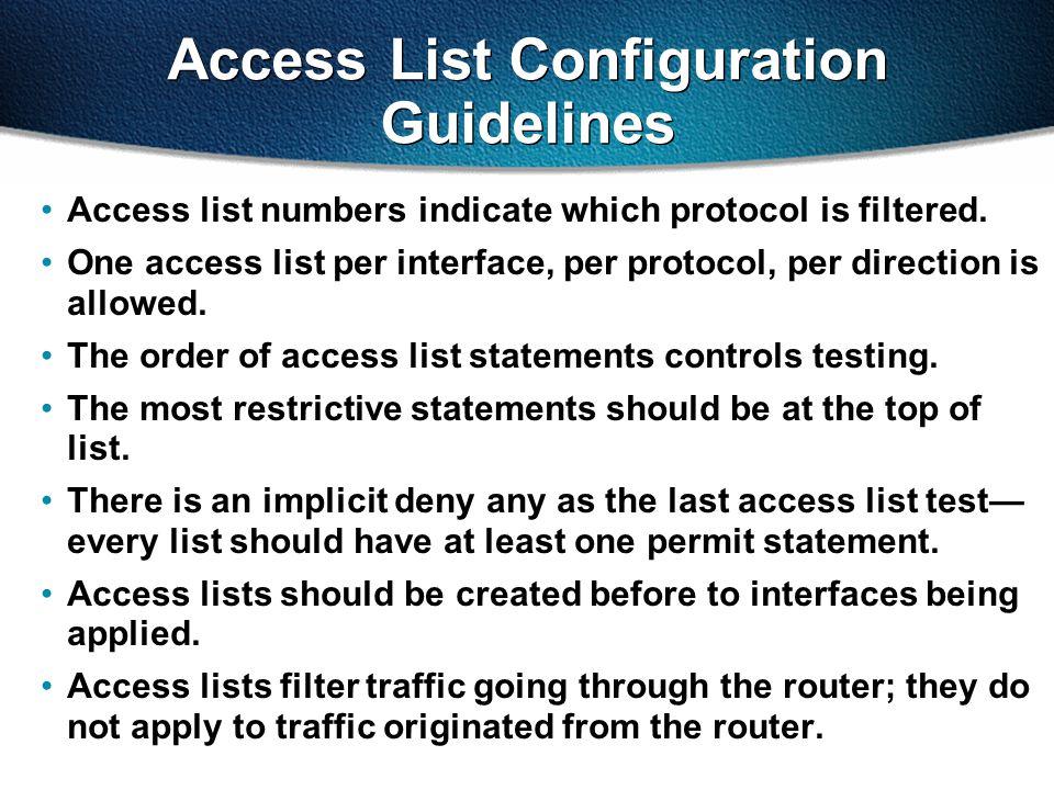 Access List Configuration Guidelines