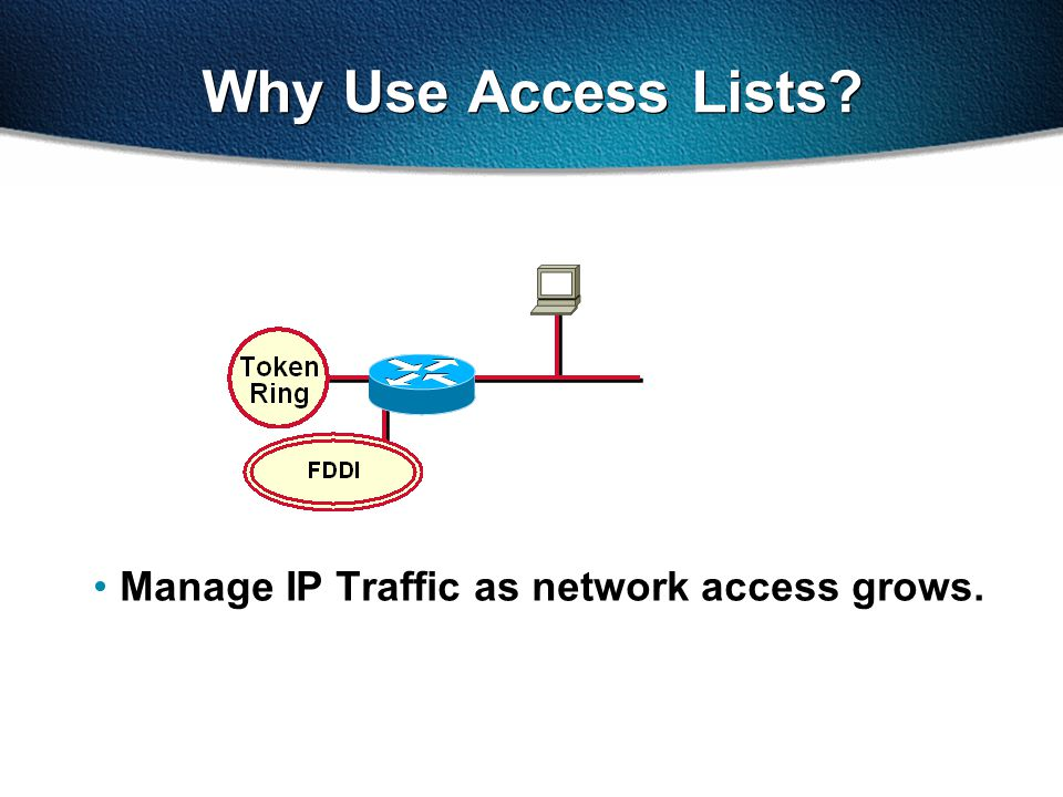 Why Use Access Lists Manage IP Traffic as network access grows.