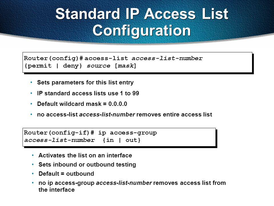Standard IP Access List Configuration